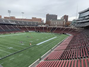 Nippert Stadium on a cold, rainy, windy day in November, being prepared for the next home football game.
