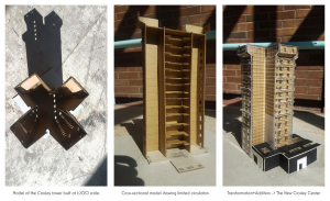 A model depicting the interior archetecture of Crosley Tower. THe building follows the basic shape of two tall shafts, meant for bathrooms and stairs, surrounding many floors in between.