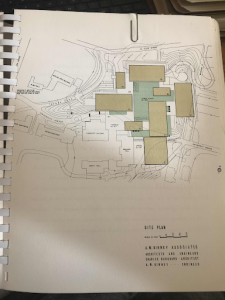 Original Geographic Blueprints of the early 1963 plans, depicting the area of University of Cincinnati campus that is now occupied by Crosley Tower.