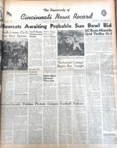 University of Cincinnati News Record from December 5, 1946 when students announced petition against discrimination in football